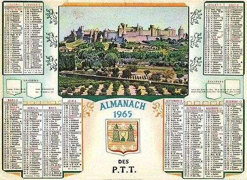 calendrier annee 1965